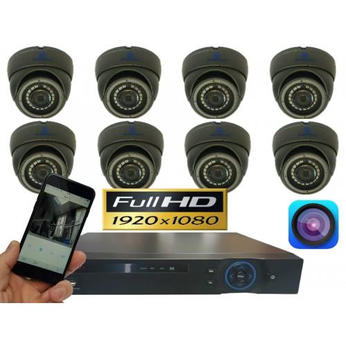FULL HD camerasysteem met 8 dome 2,0 Mega pixel camera's