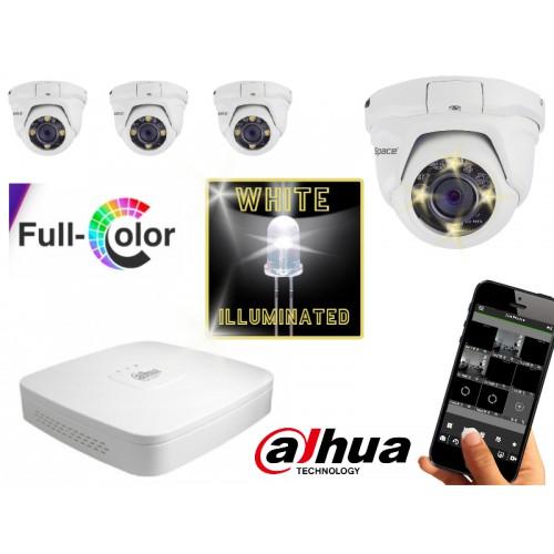 FULL COLOR camerasysteem met 4 dome 2.0 Mega pixel camera's