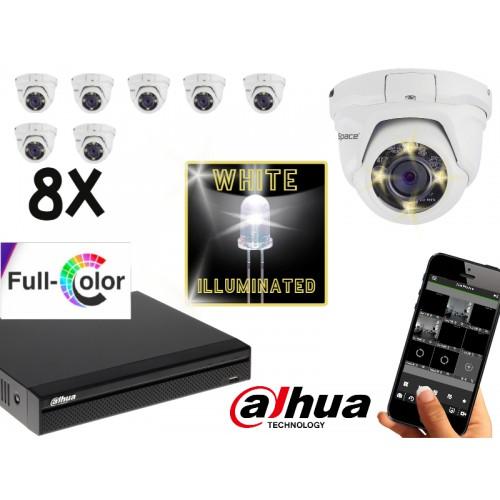 FULL COLOR camerasysteem met 8 dome 2.0 Mega pixel camera's