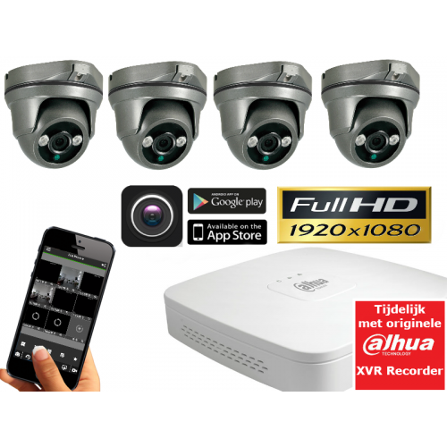 FULL HD camerasysteem met 4 dome 2,1Mp ultra IR Light.