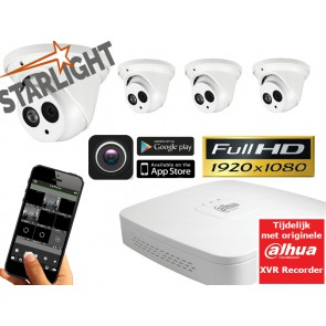 Starlight FULL HD camerasysteem met 4 dome's