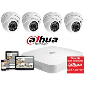 FULL HD camerasysteem met 4 dome 2,4 Mega pixel camera's