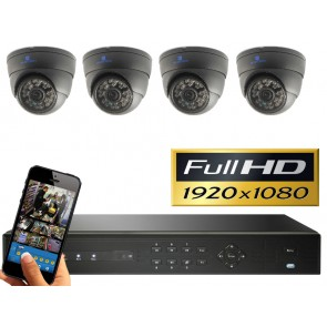 FULL HD camerasysteem met 4 dome 2,4 Mega pixel camera's