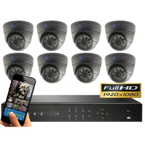FULL HD camerasysteem met 8 dome 2,4 Mega pixel camera's